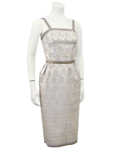 Silver & Gold Brocade Wriggle Style Cocktail Dress