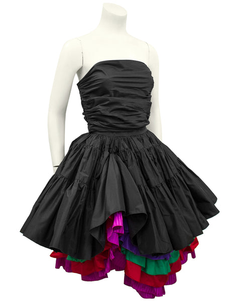Black Taffeta Bustier, Skirt and Floral Jacket