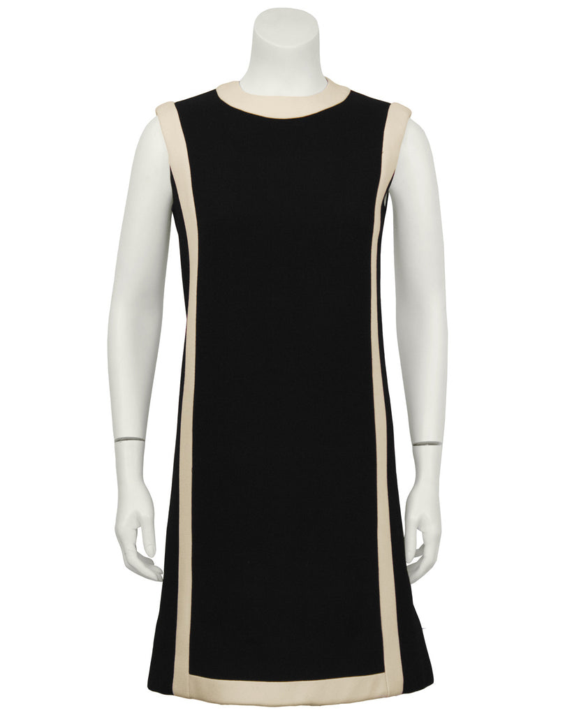 Black Wool Shift Dress with Cream Detail