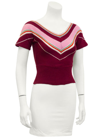 Maroon, Pink and Green Chevron Stripe Sweater