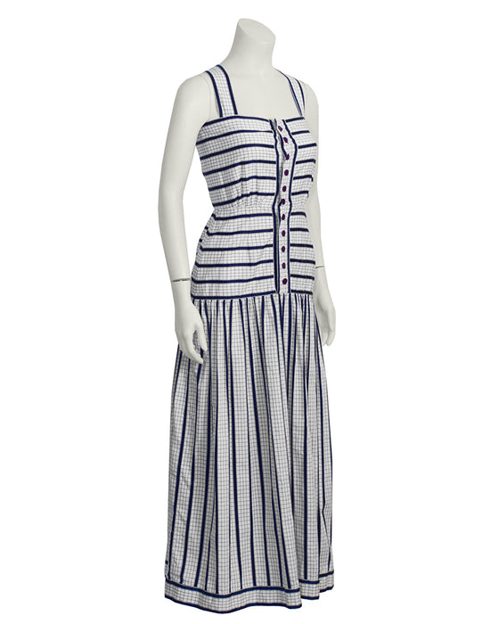 White and Navy Cotton Maxi Dress