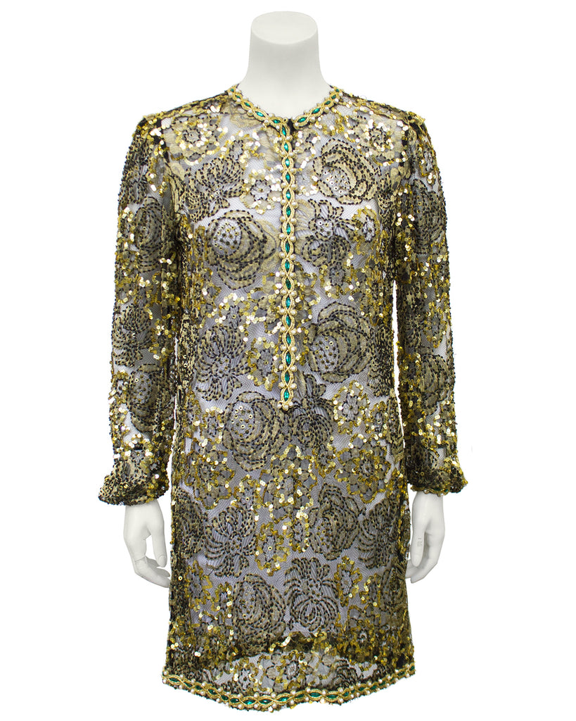 Gold Lace Beaded Evening Tunic