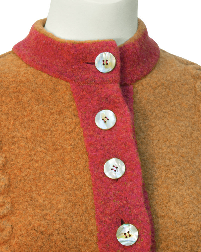Orange Boiled Wool Cardigan