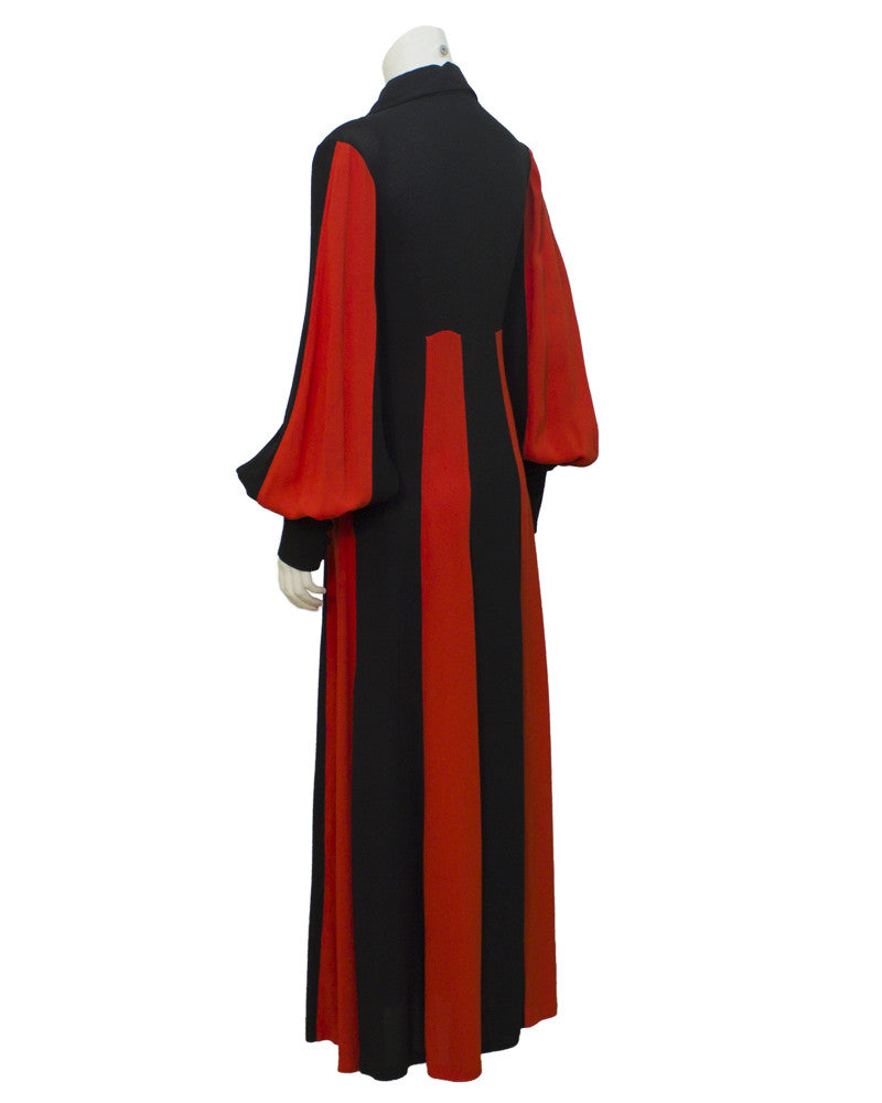 Red and Black Moss Crepe Gown