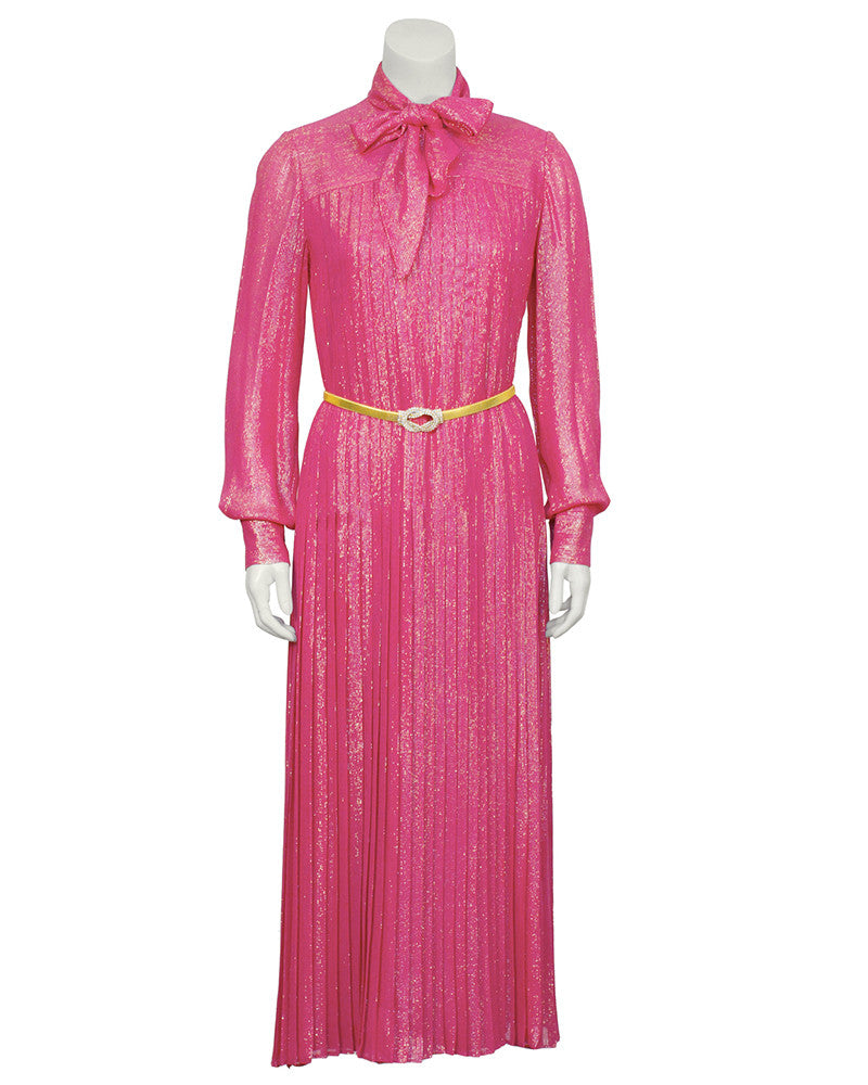 Pink and Gold Lurex Gown with Belt
