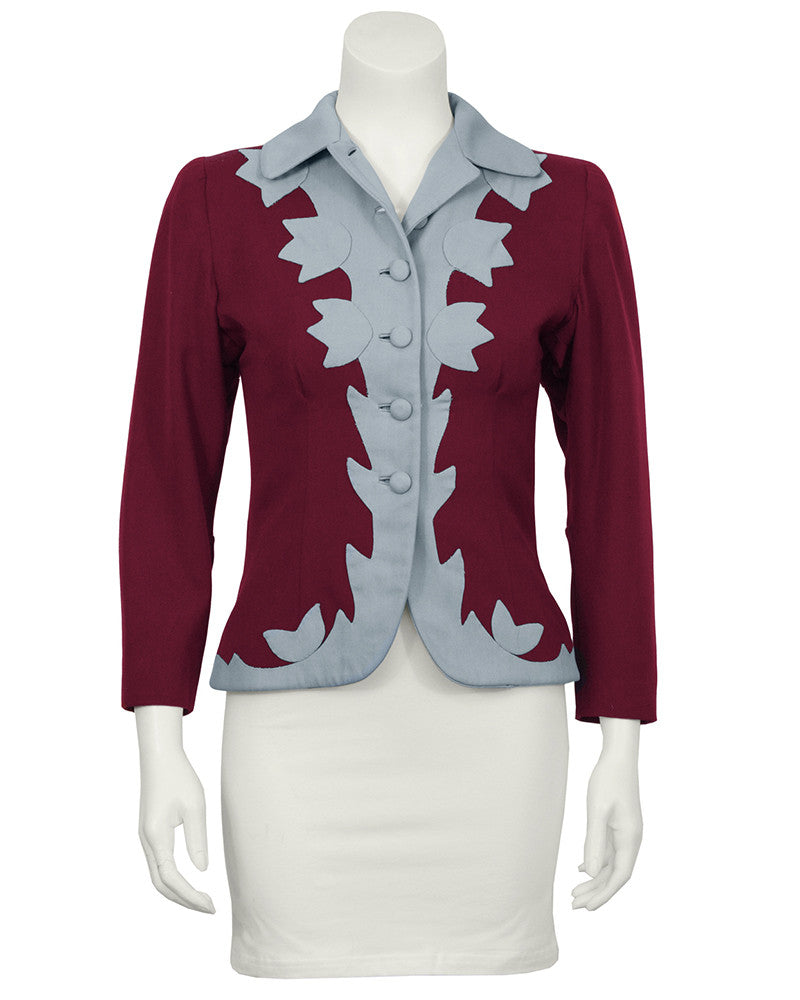 Burgundy & Blue Gabardine Jacket