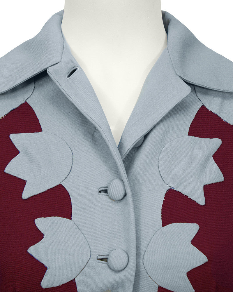 Bordeaux & Blue Gabardine Jacket