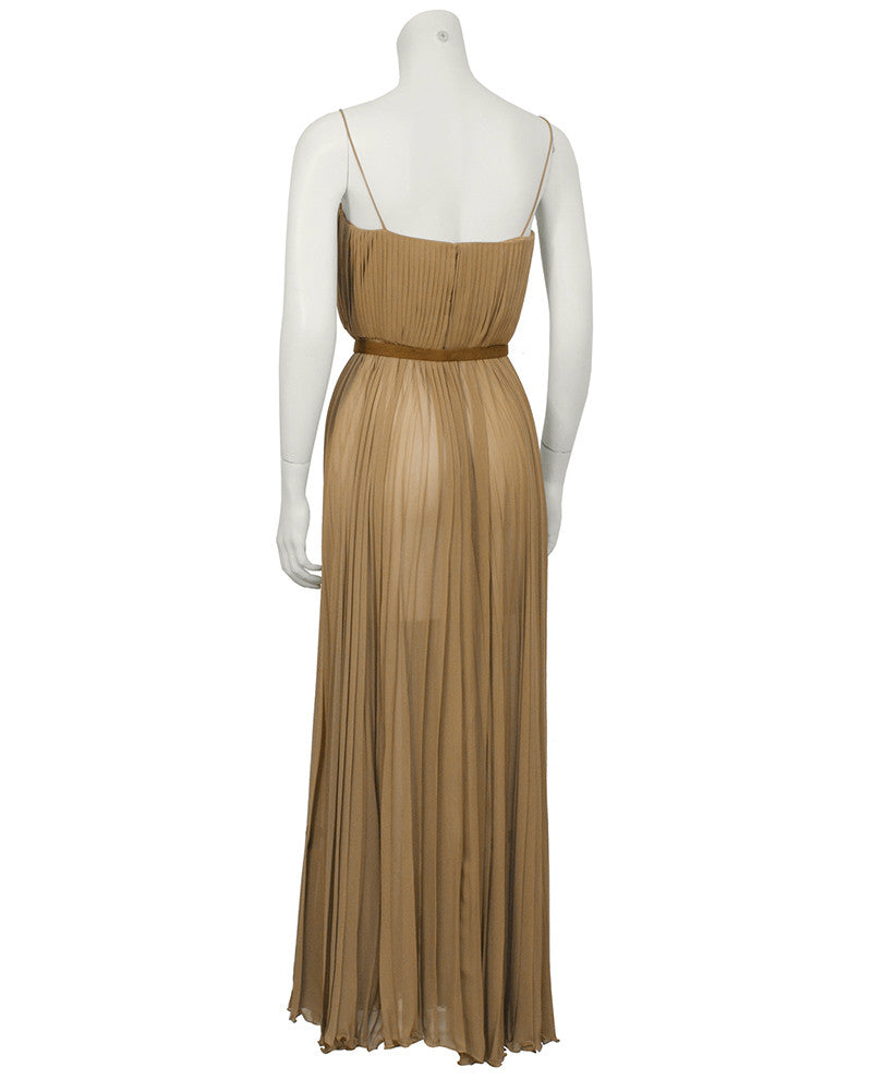 Mocha Chiffon Pleated Gown w/ Belt