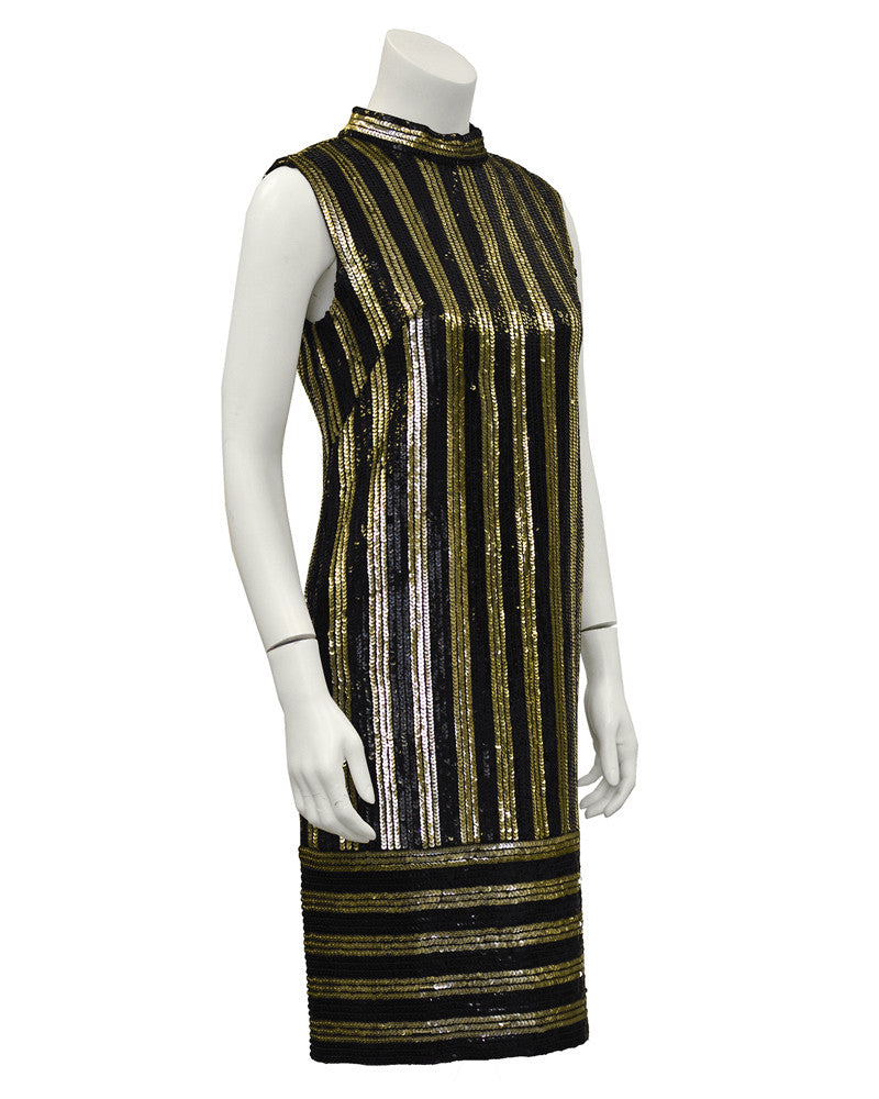 Gold and Black Sequin Striped Evening Shift Dress