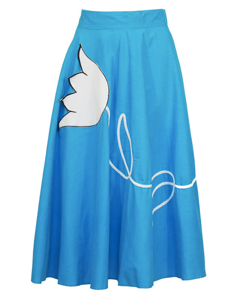 BLue Circle Skirt with Tulip Applique