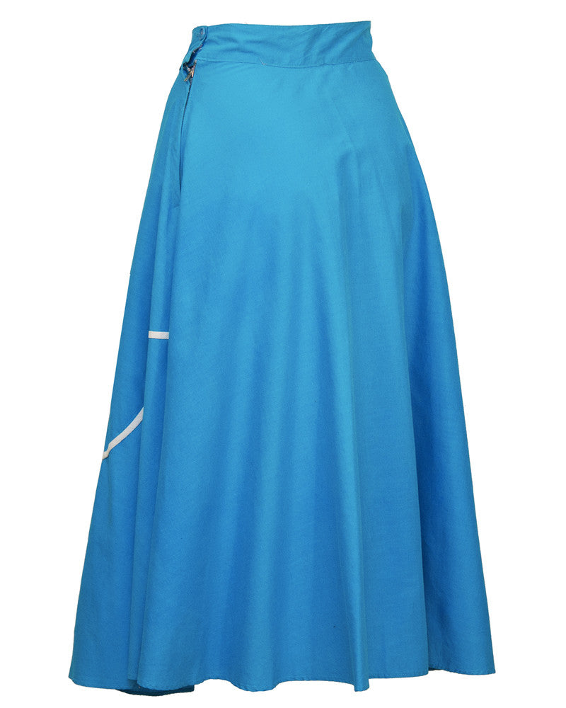 Turquoise Circle Skirt with Tulip Applique