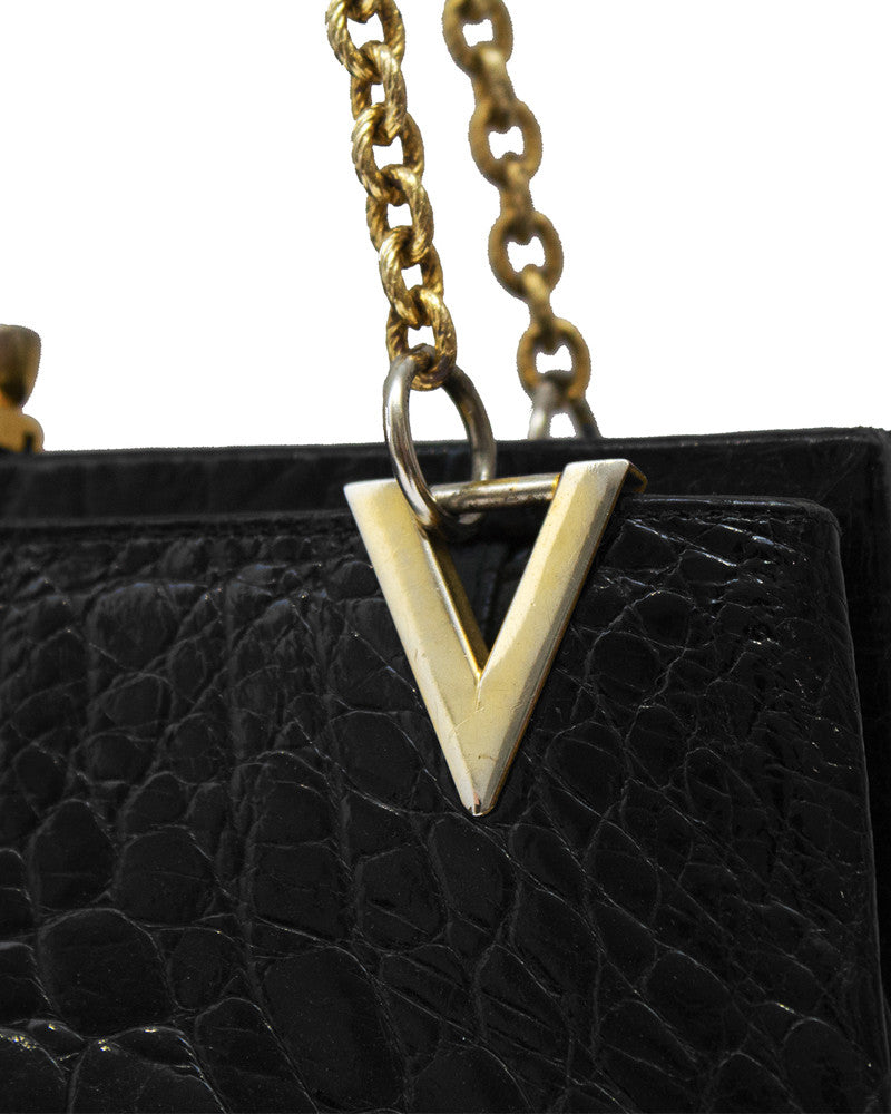 Black Farm Raised Croc Shoulder Bag with Gold Details