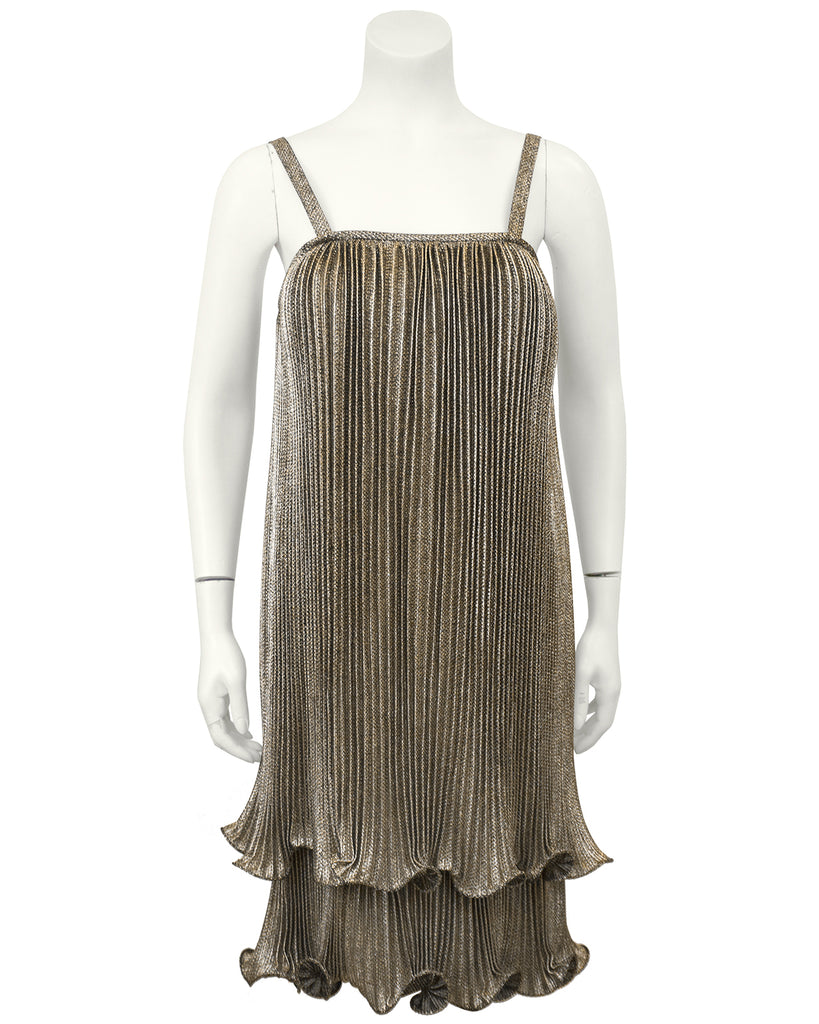 Gold Pleated Flapper Style Cocktail dress