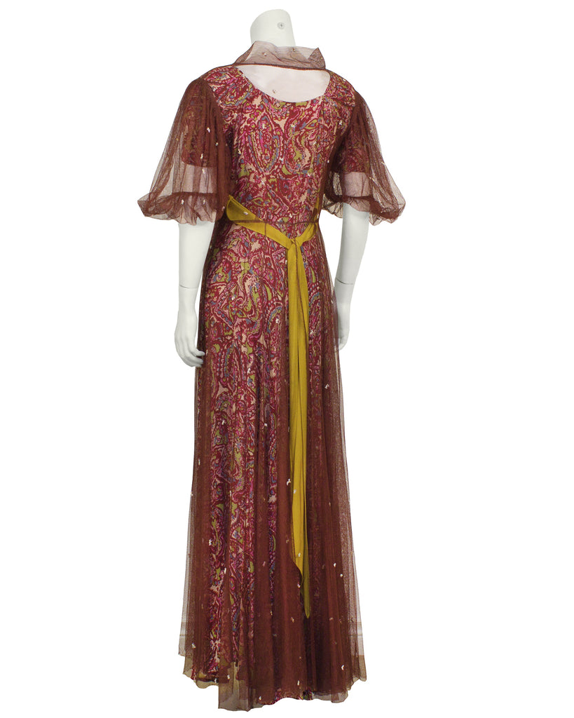 Pink Paisley Gown with Maroon Net Overcoat