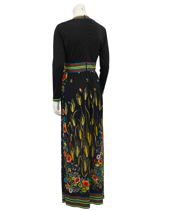 Black Long Maxi Dress with Floral Print