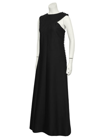 Asymmetrical A-Line Black Gown