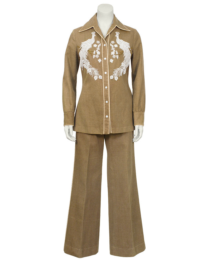 Tan Hand Beaded Brushed Denim Cowgirl Set