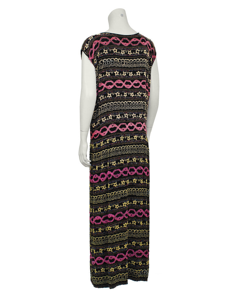 Black French Flapper Style Beaded Sheath