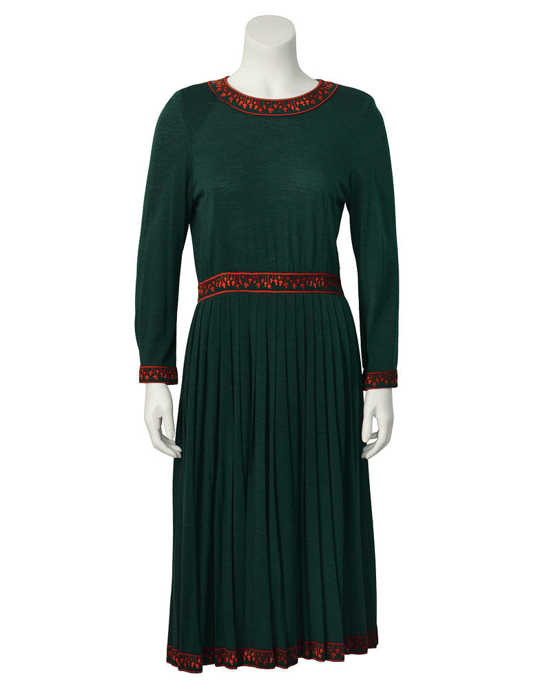 Green Dress with Fushia Trim