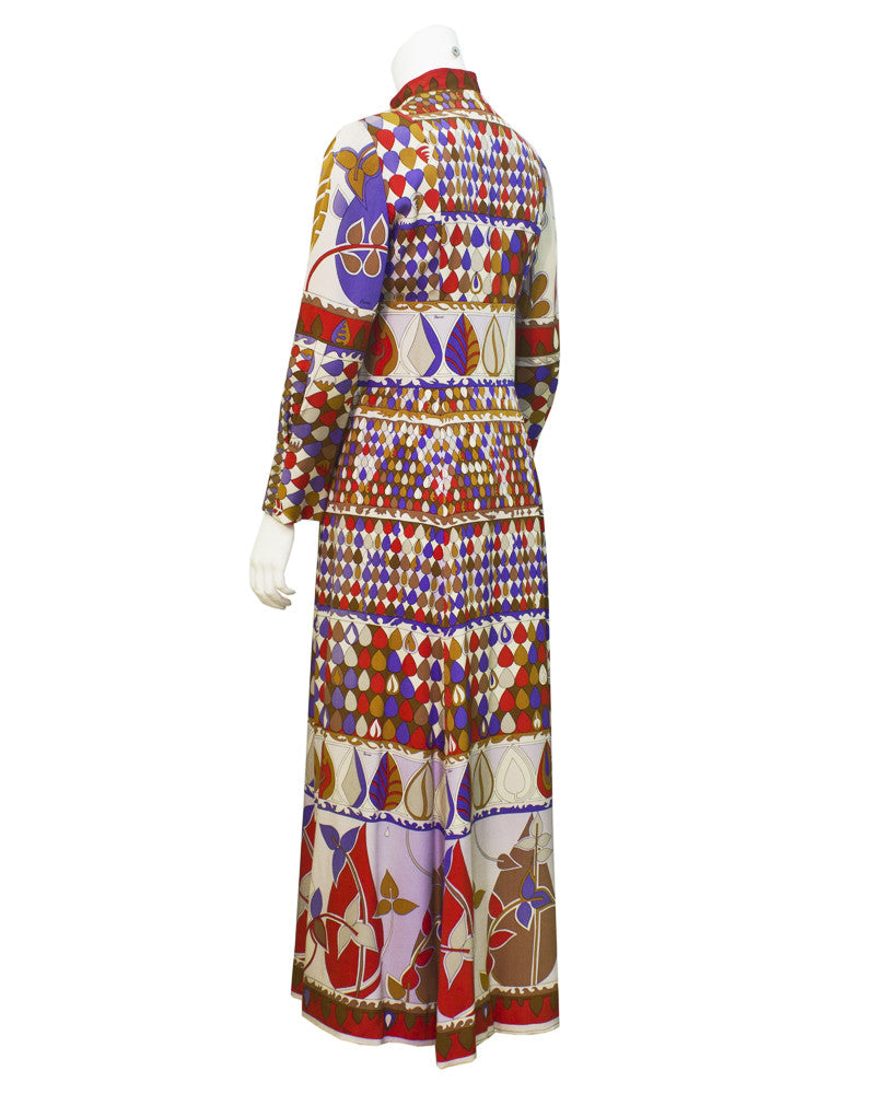 Multi Color Printed Tunic Style Gown