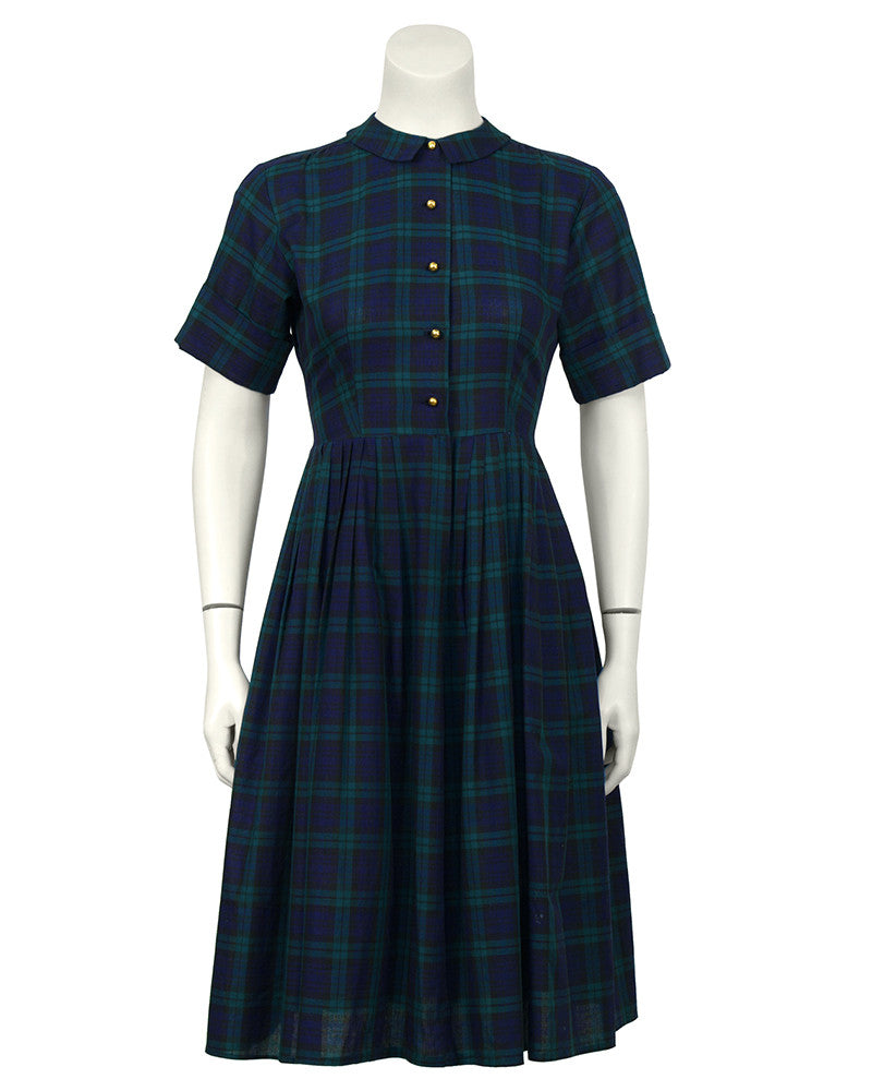 Navy and Green Plaid Shirtwaist Dress