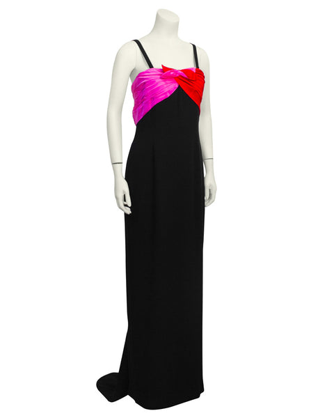 Black Gown with Red & Pink Details