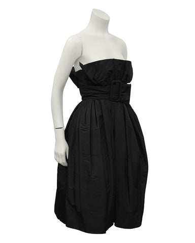 Black French Couture Taffeta Pouf Cocktail Dress