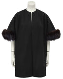 Black Mini Opera Coat with Fur Trim