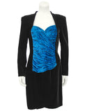 Black Velvet Cocktail Dress with Royal Blue Bodice