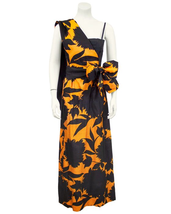 Black and Orange French Demi Couture Gown with Shoulder Detail