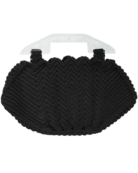 Black Crochet Handbag with Plexi Handle