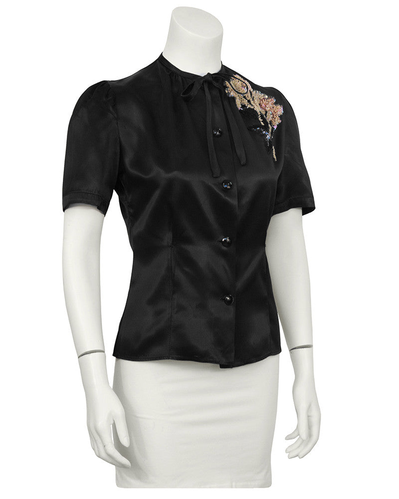 Black Satin Blouse With Beaded Flower