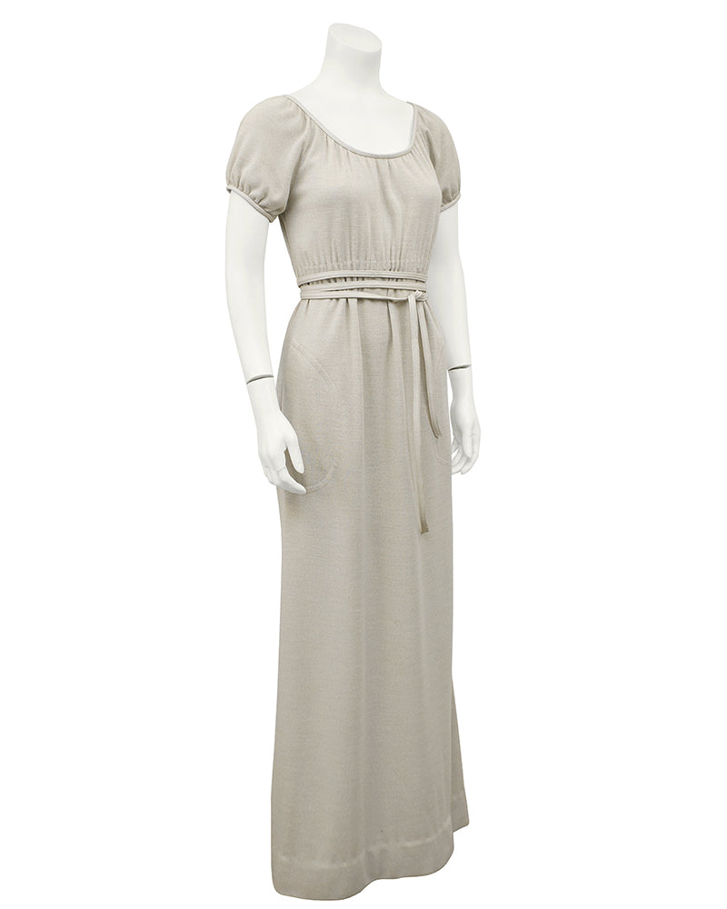 Heathered Cream Wool Jersey Gown With Leather Trim
