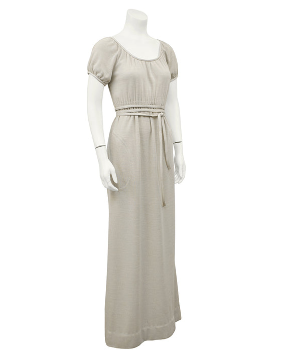 Cream Wool Jersey Gown With Leather Trim