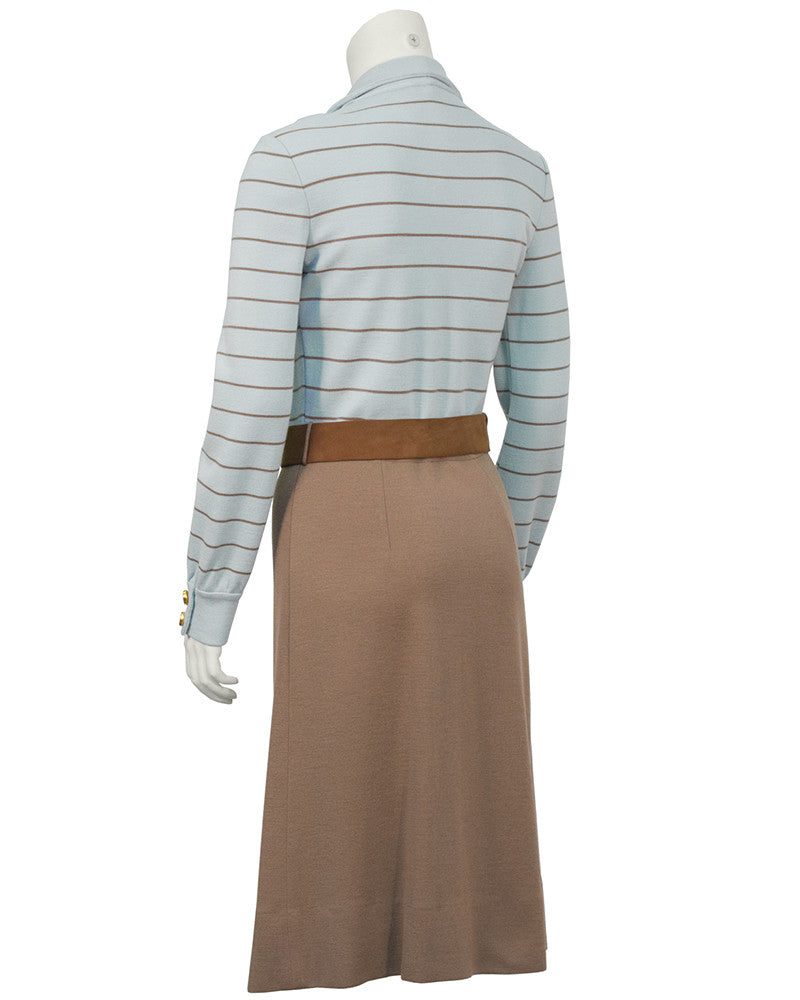 Blue and Brown Knit Daydress with Belt