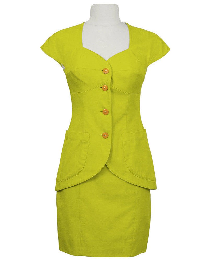 Chartreuse Cotton Short Sleeve Suit Set