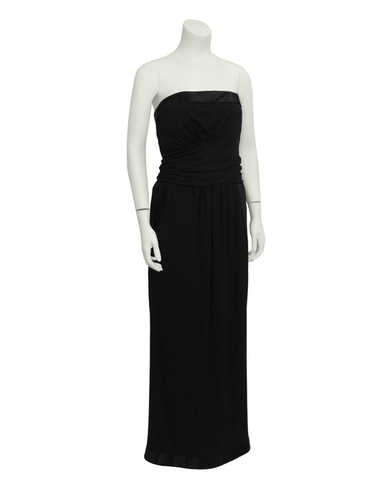 Black Wool Jersey Strapless Gown