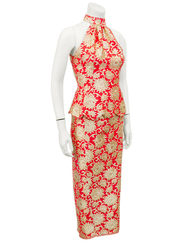 Coral and Gold Brocade Ensemble