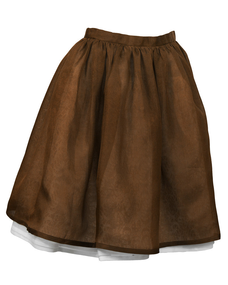 Silk Gazar Blouse and Brown Layered Skirt