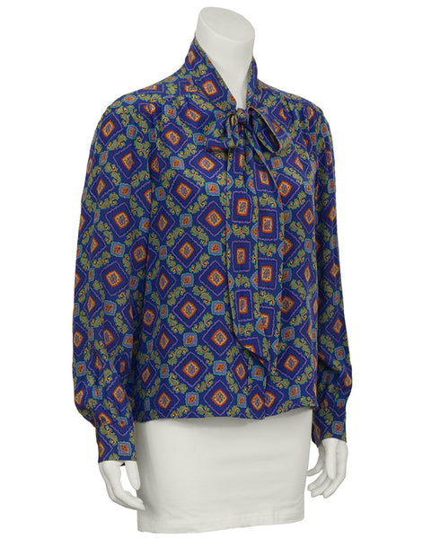 Blue Paisley Printed Blouse