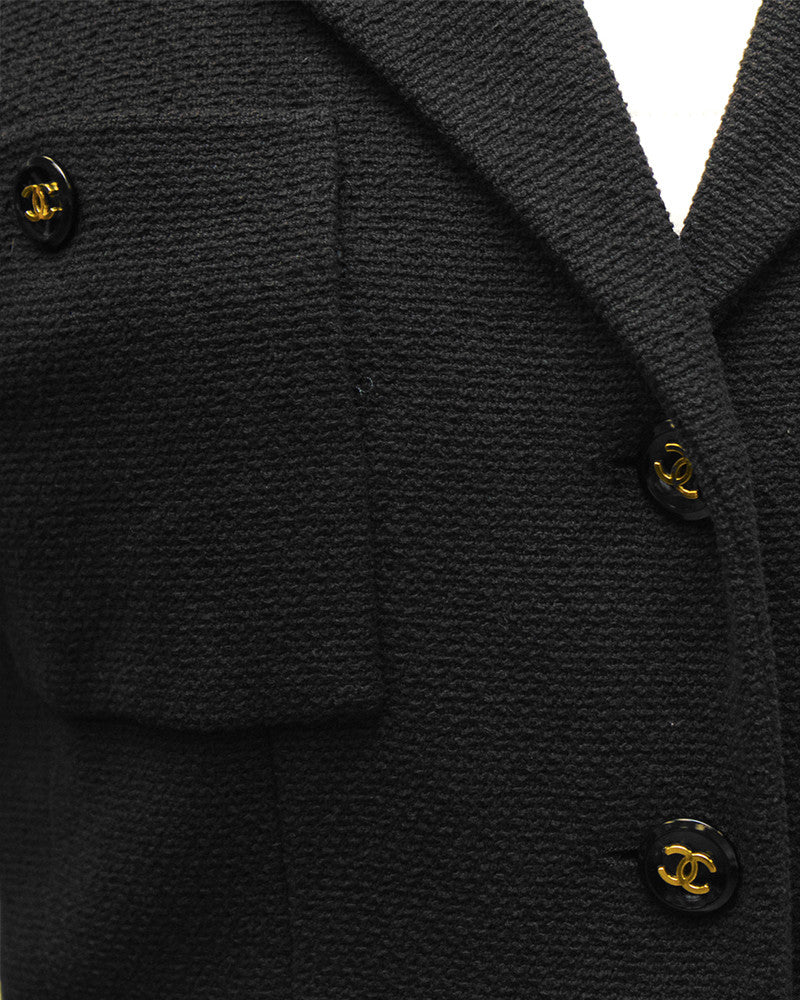Cropped Jacket with Black & Gold CC Buttons