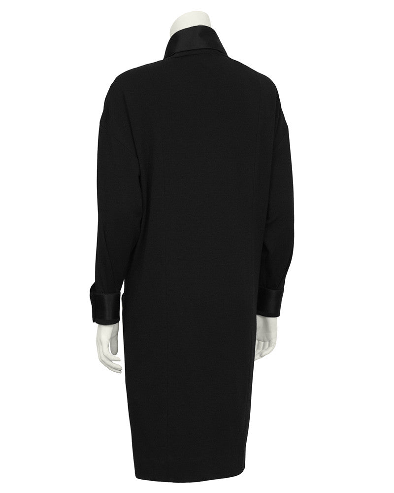 Black Wool Jersey & Satin Dinner Dress