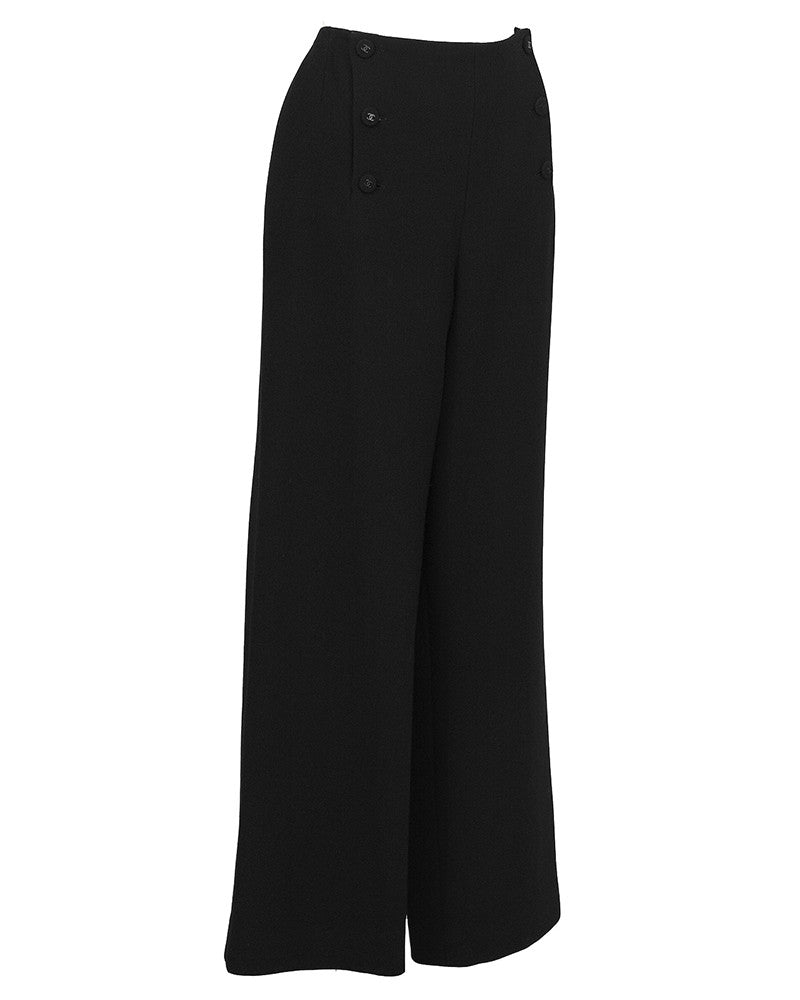 Black Wool/Crepe Sailor-Front Pant
