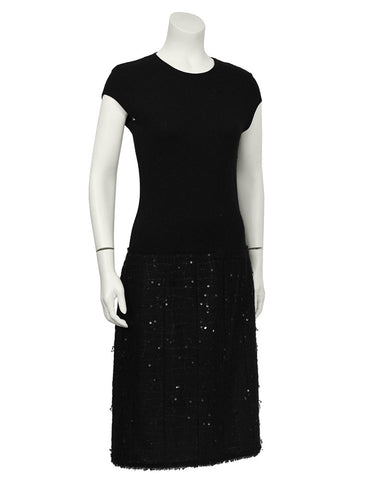 Black Knit Sequin Dress with Matching Shawl