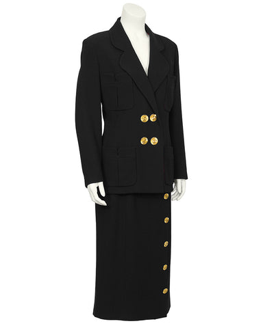 Black Maxi Skirt Suit with Clover Leaf Buttons