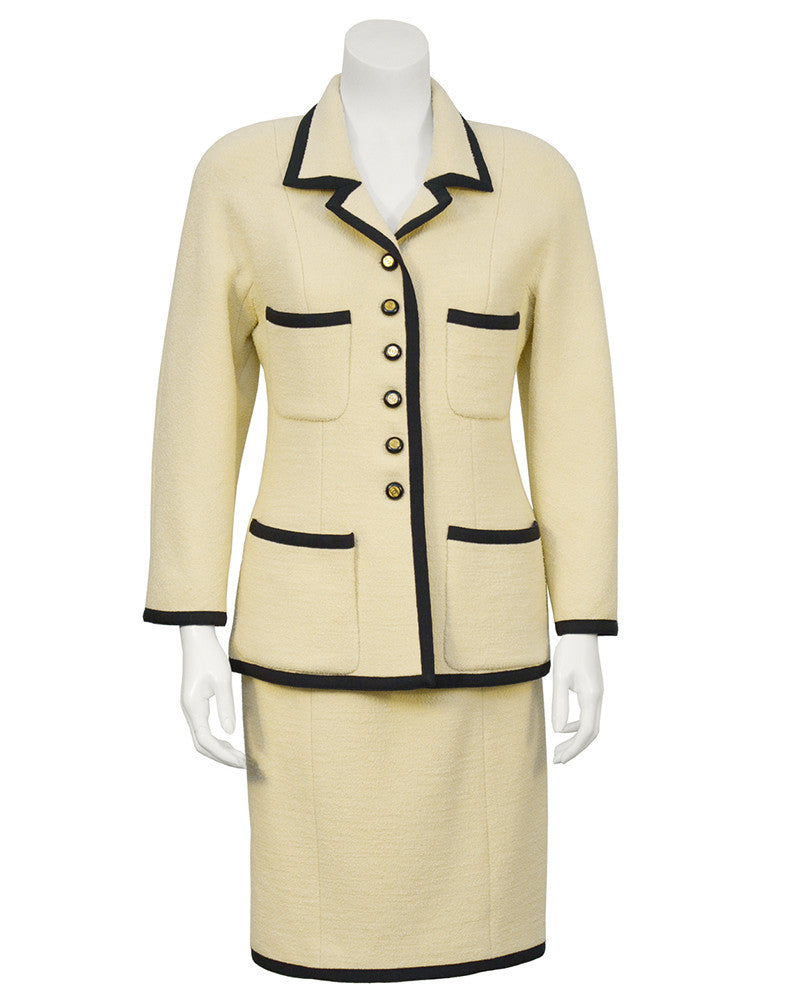 Cream Suit with Black Ribbon Trim