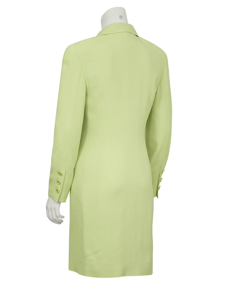 Chartreuse Dress and Coat Ensemble