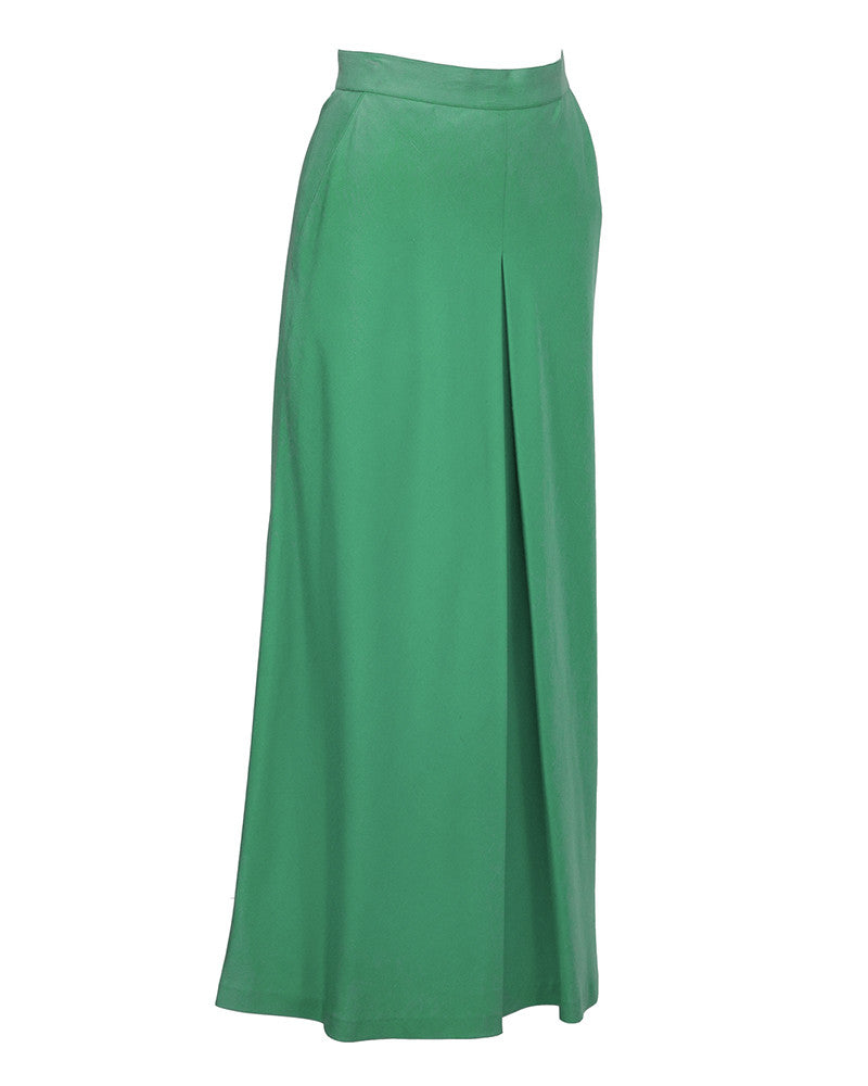 Green Silk Culotte Style Maxi Skirt