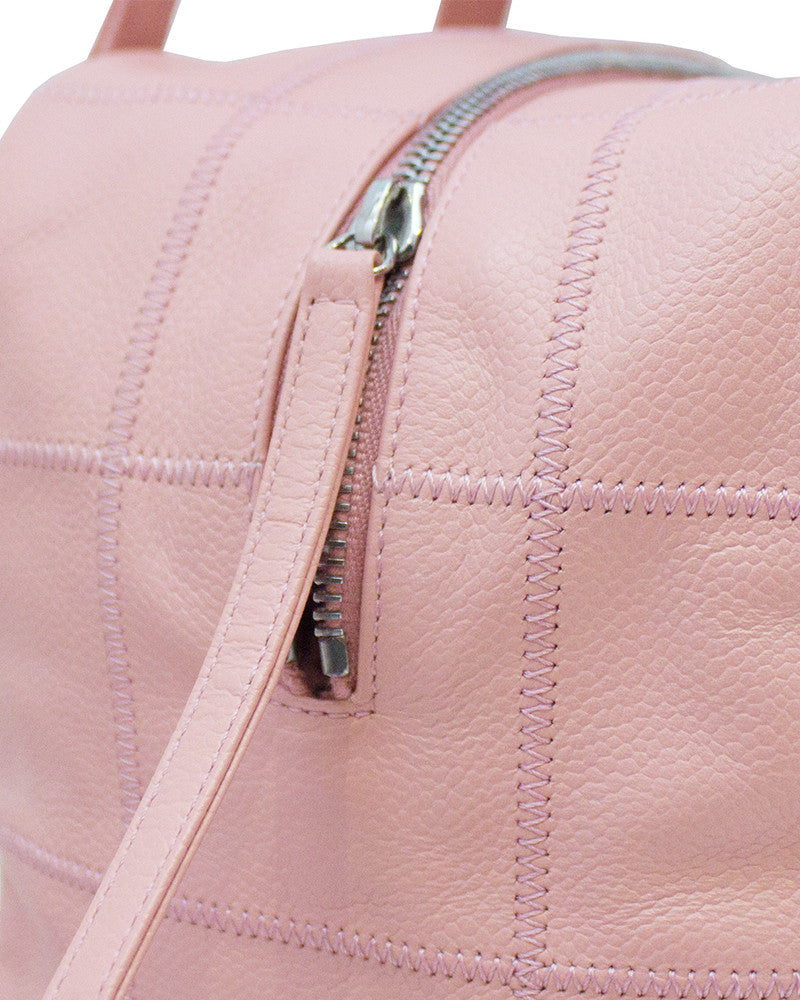 Pink Square Stitch Bowler Bag