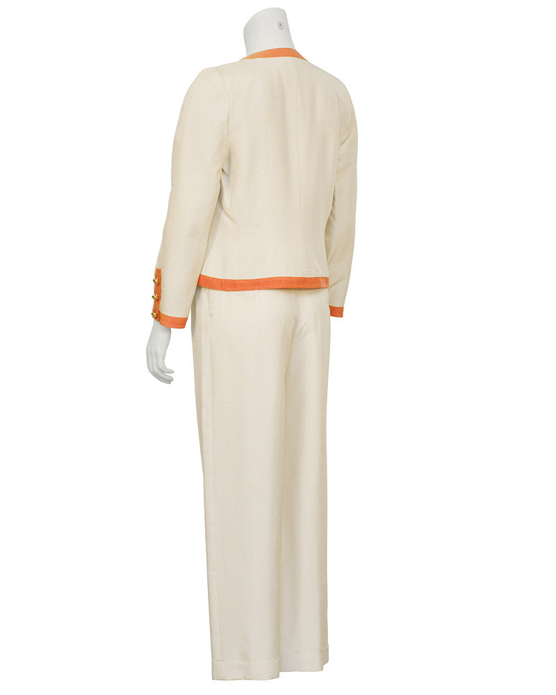Cream 3-Piece Silk Pantsuit with Orange trim
